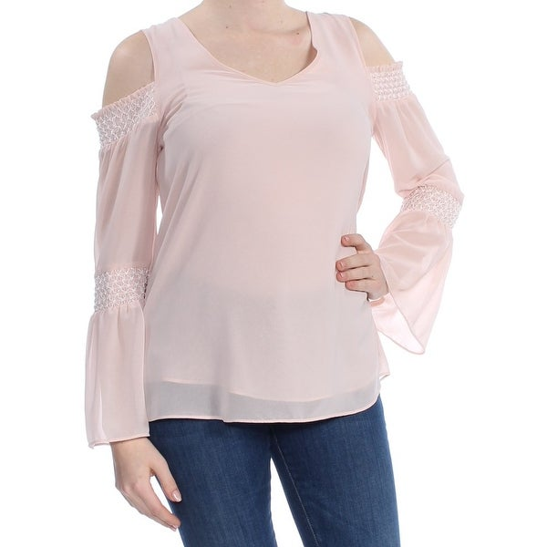 3cdfed8f149 Shop DKNY Womens Pink Cold Shoulder Bell Sleeve V Neck Top Size: M - Free  Shipping On Orders Over $45 - Overstock - 27972642