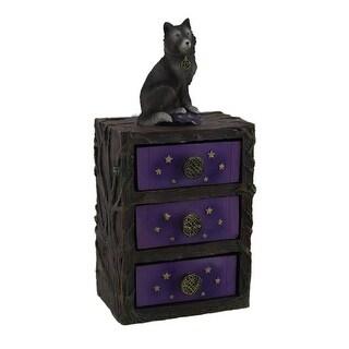 Starry Night Wolf Purple 3 Drawer Jewelry Trinket Chest