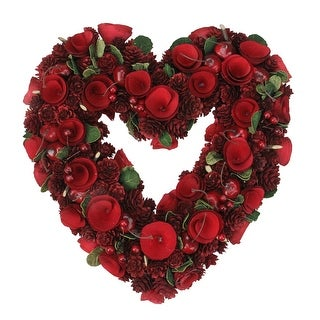 "13.5"" Rose, Pine Cone and Cherry Heart Shaped Valentine's Day Wreath - Unlit - Red"