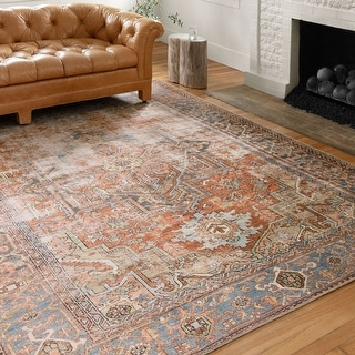 "Alexander Home Tremezzina Printed Medallion Distressed Blue/Rust Bohemian Rug - 8'4"" x 11'6"""