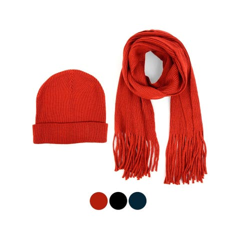 Men's Acrylic Knit Scarf and Hat Set - One Size