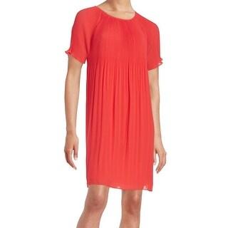 MICHAEL Michael Kors NEW Coral Red Womens Medium M Pleated Shift Dress