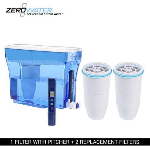 Zero Water 23 Cup Water Filter Pitcher with Free Water Quality Meter and 2 Extra Filters - L