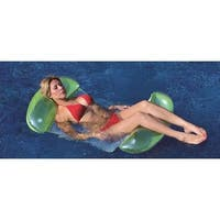 """61"""" Green and White 2 in 1 Mesh Inflatable Swimming Pool Lounger Float"""
