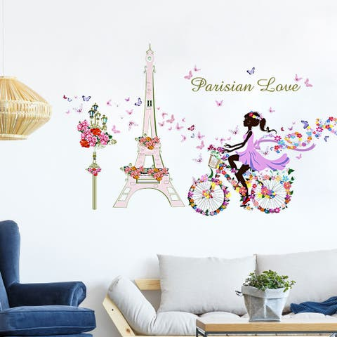 "Tower Bicycle Girl Flower DIY Wall Stickers Removable Decal 35.4""x23.6"""