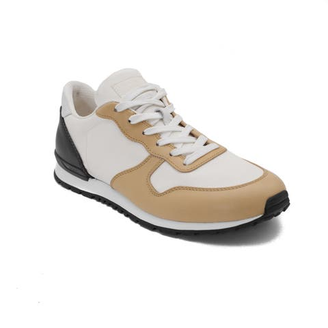 Tod's Men's Leather Fabric Sneaker Shoes White/Brown