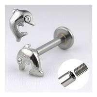 """Surgical Steel Labret with Dolphin with CZ - 14GA 3/8"""" Long (Sold Ind.)"""