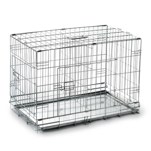 Shop Portable Folding Metal Wire Dog Crate Cage Pet Kennel