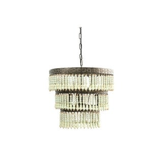 3-Tier Round Metal Chandelier with 3 Lights & Hanging Wood Beads