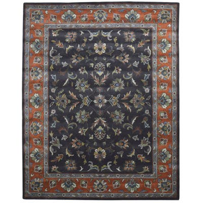 One of a Kind Hand-Tufted Persian 8' x 10' Oriental Wool Black Rug - 8' x 10'