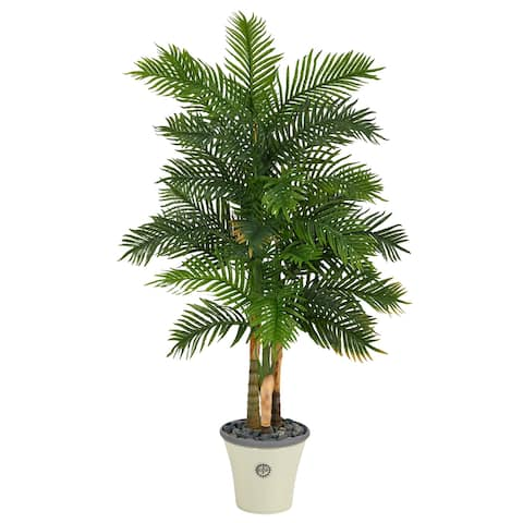 "70"" Areca Palm Artificial Tree in Decorative Planter (Real Touch)"