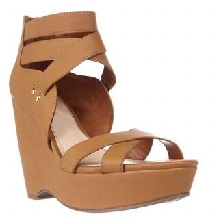B35 Samara Strappy Wedge Sandals, Dark Tan
