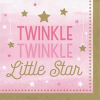 """Club Pack of 192 Pink and Green One Little Star Girl  Luncheon Napkins 5"""""""