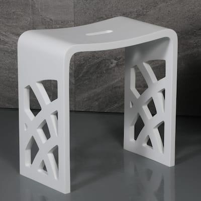 Designer White Matte Solid Surface Resin Bathroom / Shower Stool