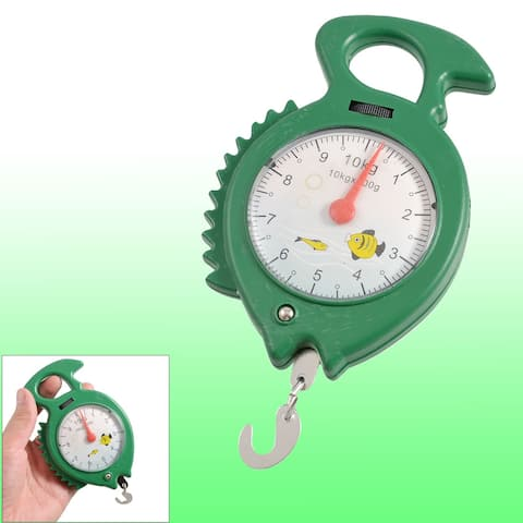 Green Fish Shape Round Dial Weight Luggage Analog Hanging Scale 10kg