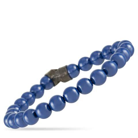 Stephen Webster England Made Me Silver and Black Rhodium Blue Ceramic Beaded Bracelet (No Clasp)