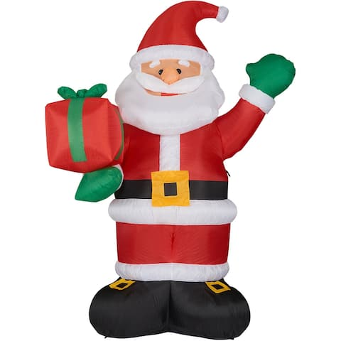 Fraser Hill Farm 10-Ft. Tall Santa Claus Holding a Gift, Blow Up Inflatable with Lights and Storage Bag