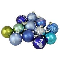"12-Piece Set of Blue, Silver and Green Multi-Patterned Christmas Ball Ornaments 4"" (100mm) - WHITE"
