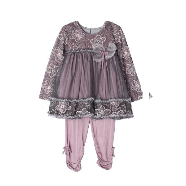 Isobella & Chloe Baby Girls Rosy Mauve Nightingale 2 Pcs Lace Knit Outfit 24M