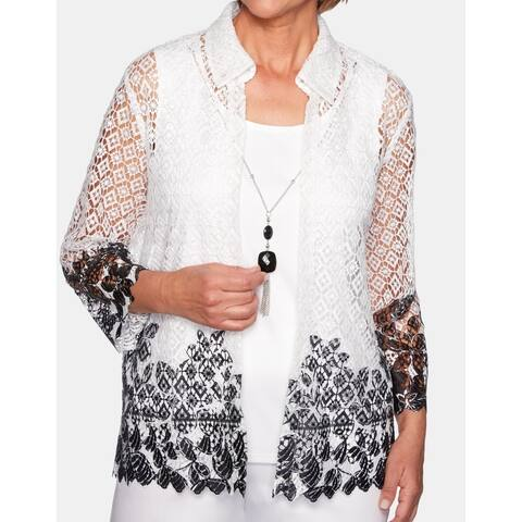 Alfred Dunner Womens Blouse White Size Large L 2-Piece Crochet Necklace