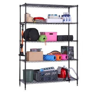 LANGRIA 5 Tier Heavy Duty Garage Shelving Unit, hold up to 441lbs/200kg Storage Rack Shelf Metal Shelves, Black