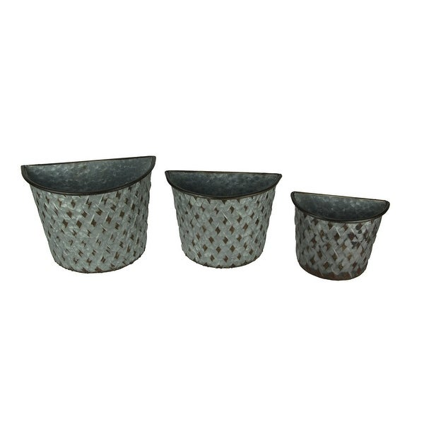 Set of 3 Galvanized Metal Wall Mounted Farmhouse Basket Planters - 8.5 X 11.25 X 6.25 inches