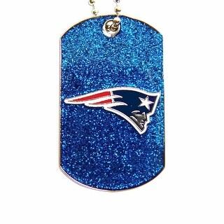 New England Patriots Dog Fan Tag Glitter Necklace NFL