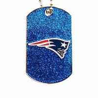 New England Patriots Dog Fan Tag Glitter Necklace NFL