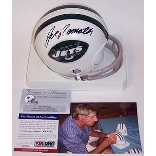 Joe Namath Autographed Hand Jets 2Bar Mini Helmet  PSADNA