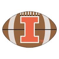 NCAA University of Illinois Fighting Illini Football Shaped Mat Area Rug