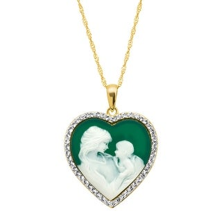 Crystaluxe Mother & Child Green Inscribed Heart Cameo Pendant with Swarovski Crystals in 18K Gold-Plated Sterling Silver