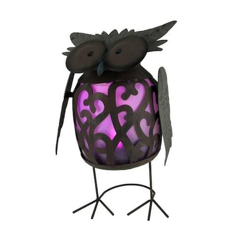 Metal Art Filigree Hoot Owl LED Lighted Solar Statue - 15.5 X 8 X 6 inches