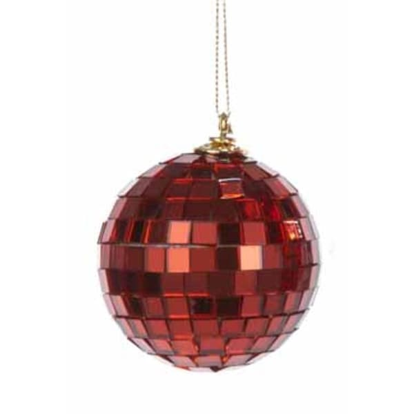 "Red Mirrored Glass Disco Ball Christmas Ornament 2.5"" (60mm)"