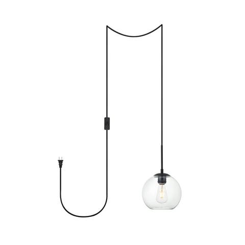 "Brad 1-Light Plug in Pendant with Clear Shade - Black - 8"" Diameter"