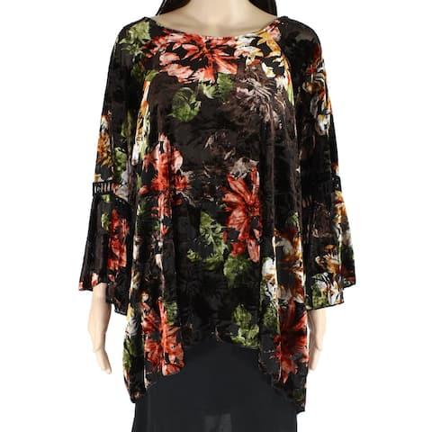 Cupio Womens Red Black Size 2X Plus Velvet Floral Crochet Bell Blouse