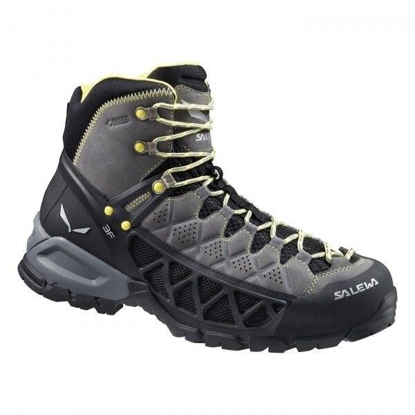 Salewa Alp Flow Mid GTX Hiking Shoes, Mens, Waterproof Gortex, Sizes 8-11 - smoke/yellow