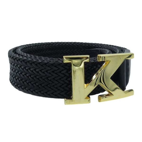 Kiton Black Braided Leather Logo Belt