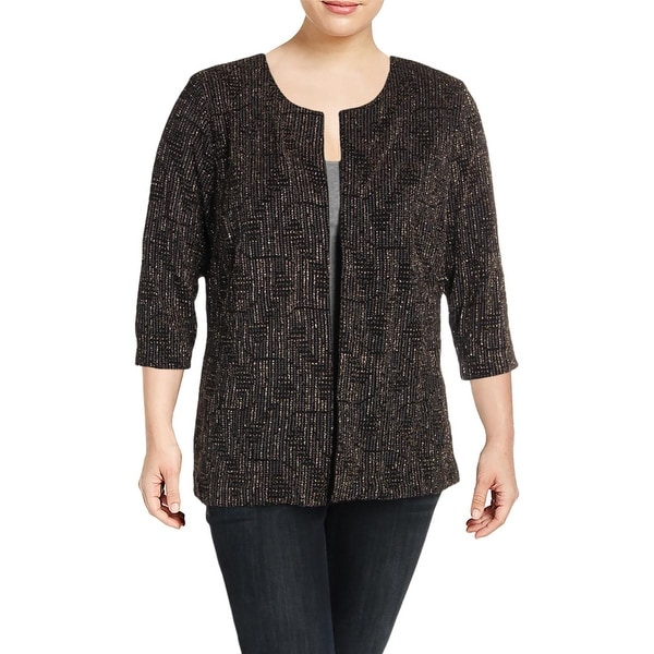 Alex Evenings Women/'s Plus Size Embroidered 3//4-Sleeve Jacket
