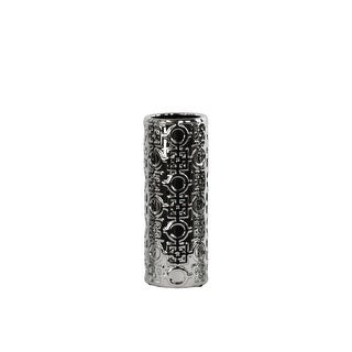 Patterned Ceramic Vase In Cylindrical Shape,  Silver