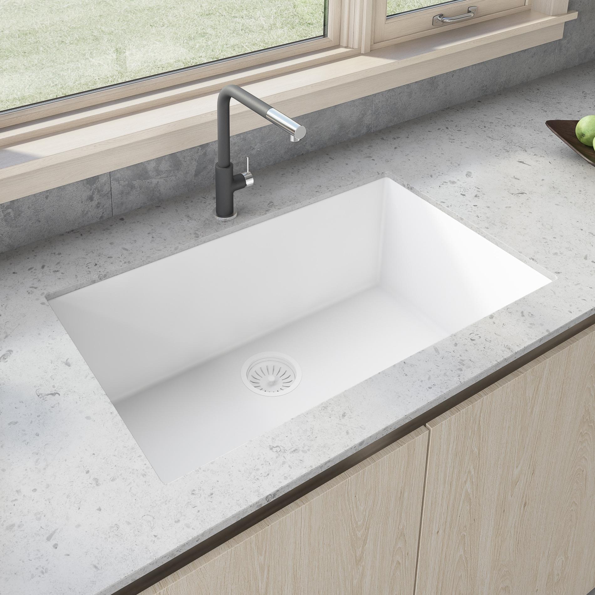 Shop Ruvati 33 x 19 inch Granite Composite Undermount Single Bowl