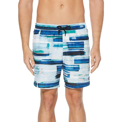 Perry Ellis Mens Striped Shorts Swim Trunks - Powder Pink - XL