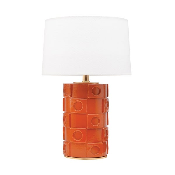 Mitzi by Hudson Valley Athena 1-light Burnt Orange and Gold Leaf Table Lamp, Off White Belgian Linen. Opens flyout.