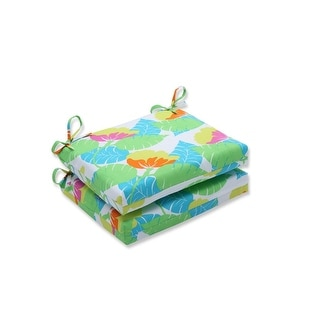 """Set of Two """"Tropical Leaf"""" Key Lime Green and Dove White Squared Corners Seat Cushion 18.5"""""""
