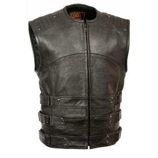 Mens Updated Leather SWAT Style Biker Vest