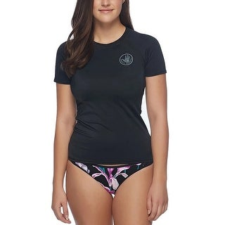 Body Glove Womens Swimwear Black Size XL Short Sleeve Logo Rash Guard