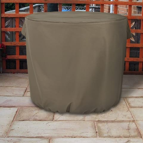 Sunnydaze Heavy-Duty Khaki Round Protective Air Conditioner Cover - 34 X 30-Inch - Heavy-Duty Round