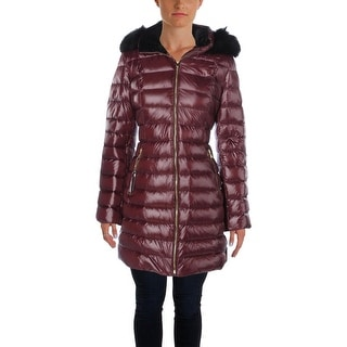 Calvin Klein Womens Puffer Coat Faux Fur Quilted - L