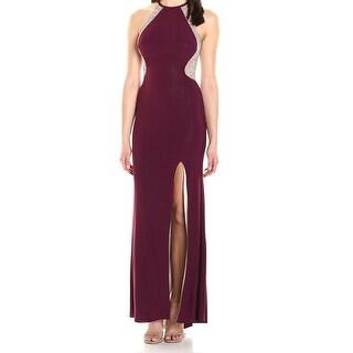 Xscape NEW Purple Womens Size 8 Stud-Embellished Side-Slit Sheath Dress