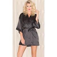 Plus Size Short Sleeve Satin Robe