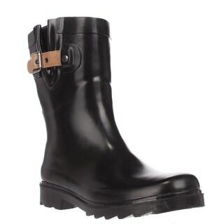 Chooka Top Solid Mid Buckle Rain Boots, Black